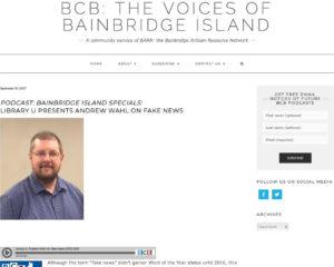 Screenshot of podcast by Bainbridge Community Broadcasting on 9-30-17