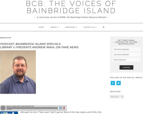 Screenshot of podcast by Bainbridge Community Broadcasting on 9-30-17