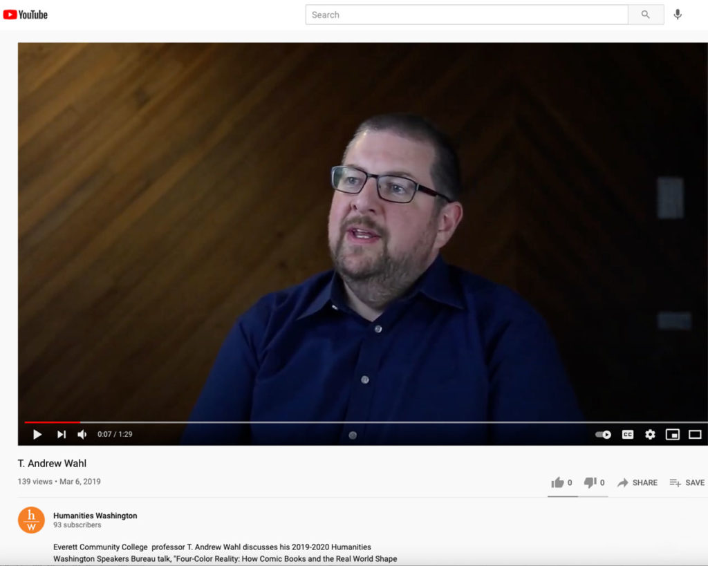Screenshot of video published by Humanities Washington on 3-6-19