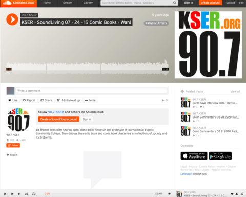 Screenshot of radio broadcast by KSER on 7-24-15