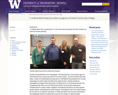 Screenshot of article published by UW Bothell on 3-3-15